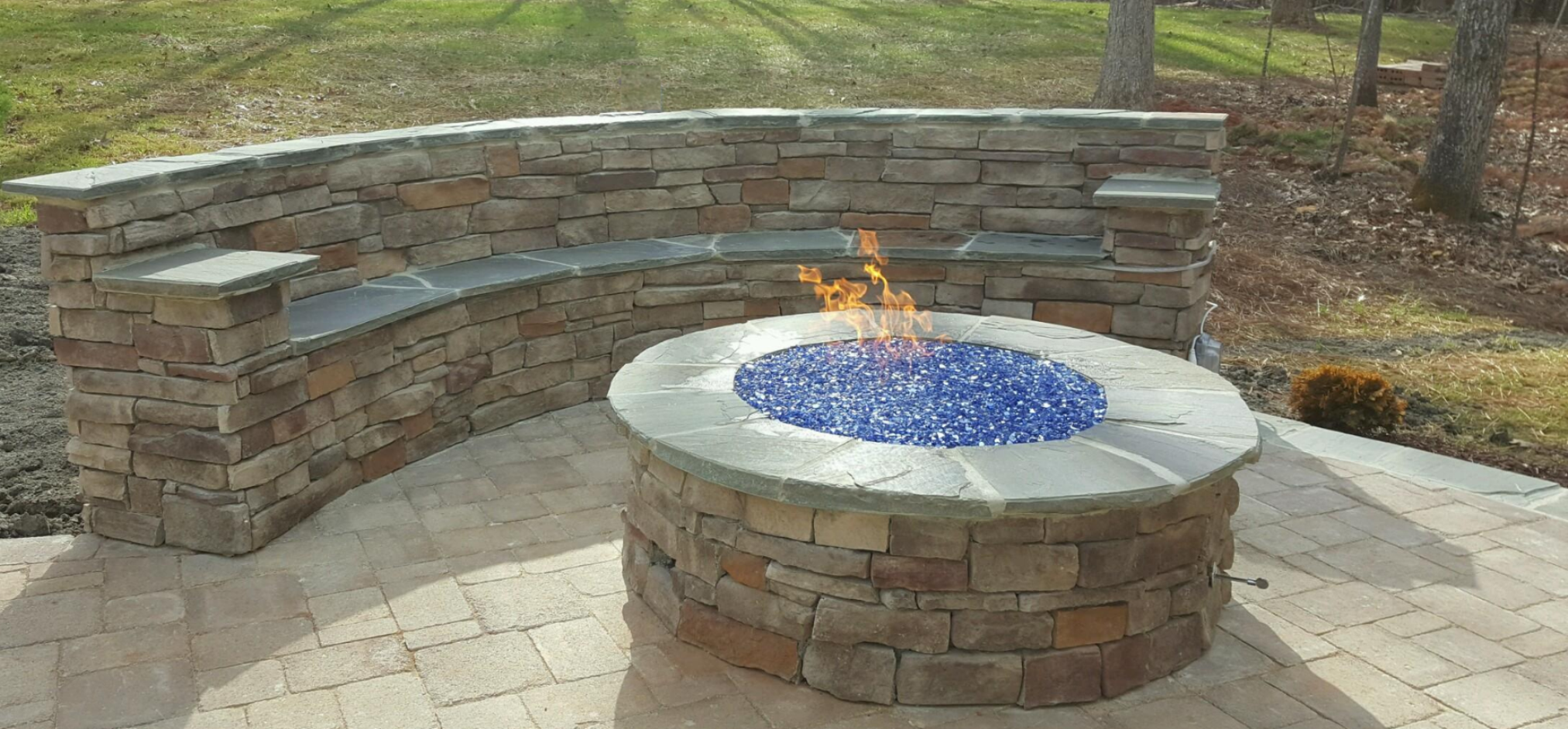 Raleigh Hardscaping Stone Pavers Custom Fire Pit Patio Covis